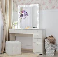 Стол для макияжас гримерным зеркалом, стол визажиста с ящиками, цвет - белый