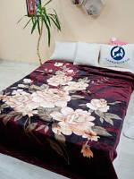 Плед стриженный с пресованным рисунком Бордовые цветы  200х240 3.5кг