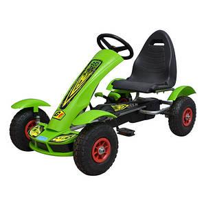 Карт детский педальный Bambi M 1450-5 надувные колеса цепная передача зеленый