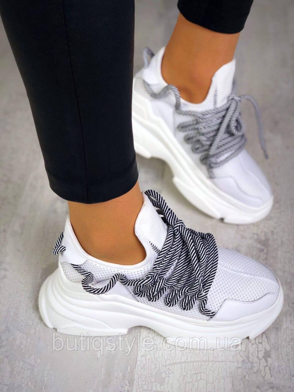 38 размер 24 см Женские кроссовки белые с серыми шнурками эко-кожа на платформе