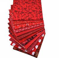 Красный набор ткани для рукоделия - 12 отрезов 25*25 см, фото 1