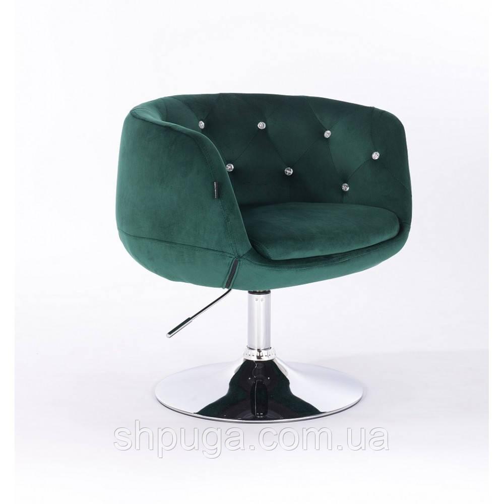 Кресло HR333 бутылочный зеленый велюр , стразы
