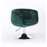 Кресло HR333 бутылочный зеленый велюр , стразы, фото 1
