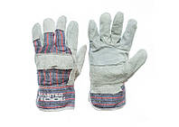 Перчатки спилковые комбинированные со сшивной ладонью MASTERTOOL (упаковка 10 пар)