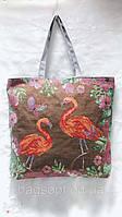Молодежная тканевая эко сумка пляжная летняя с рисунком Фламинго