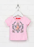 Вышиванка футболка трикотажная розовая для девочки на короткий рукав Обериг by Piccolo L