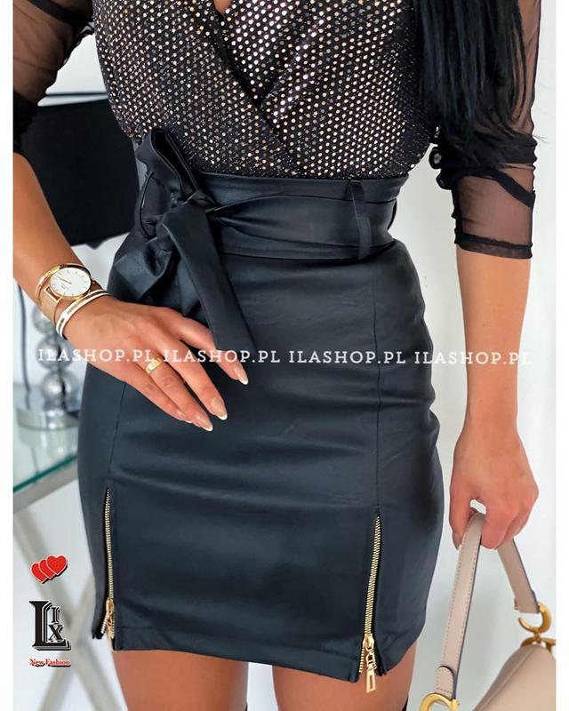 Кожаная мини юбка с поясом и высокой посадкой Arut оптовый интернет магазин женской одежды