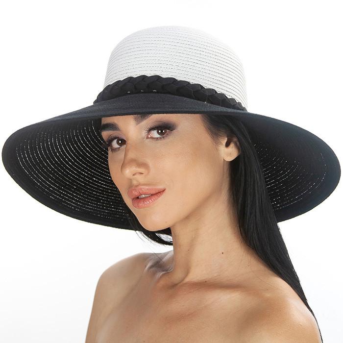 Широкополая летняя шляпа украшена плетенным жгутом цвет белый+ черный