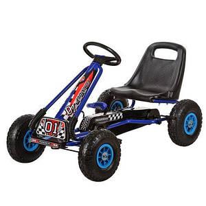 Детская педальная машинка веломобиль карт BambiM 0645-4 синий