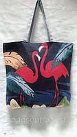 Тканевая эко сумка шоппер хозяйственная летняя пляжная с рисунком Фламинго