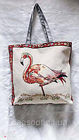 Пляжная летняя сумка шоппер из ткани(Коттон) с рисунком Фламинго