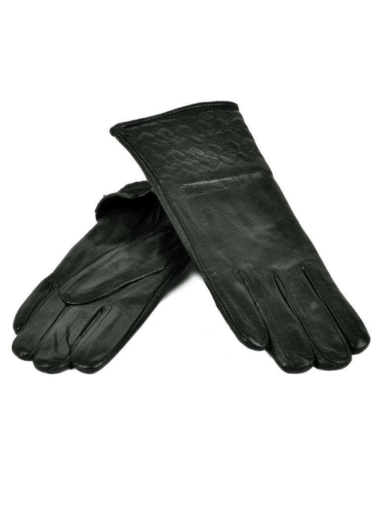 Перчатка Женская кожа F24-17/1 мод10 black флис