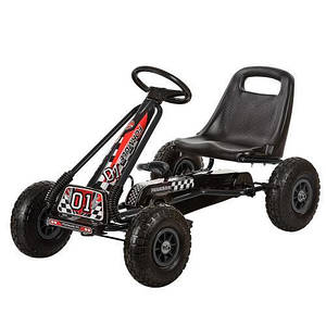 Педальный карт BambiM 0645-2 надувные колеса черный для детей от 5 лет