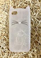 Силиконовый чехол Cat для iPhone 8 / 7, прозрачный с блестками