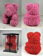 Мишка из 3D роз 25см в красивой подарочной упаковке мишка из роз оригинальный подарок на 8 марта девушки