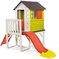 Детский игровой домик на опорах Smoby 810800 с горкой для детей