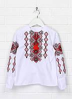 Детская белая вышиванка для девочки с красной вышивкой Подолянка Piccolo L