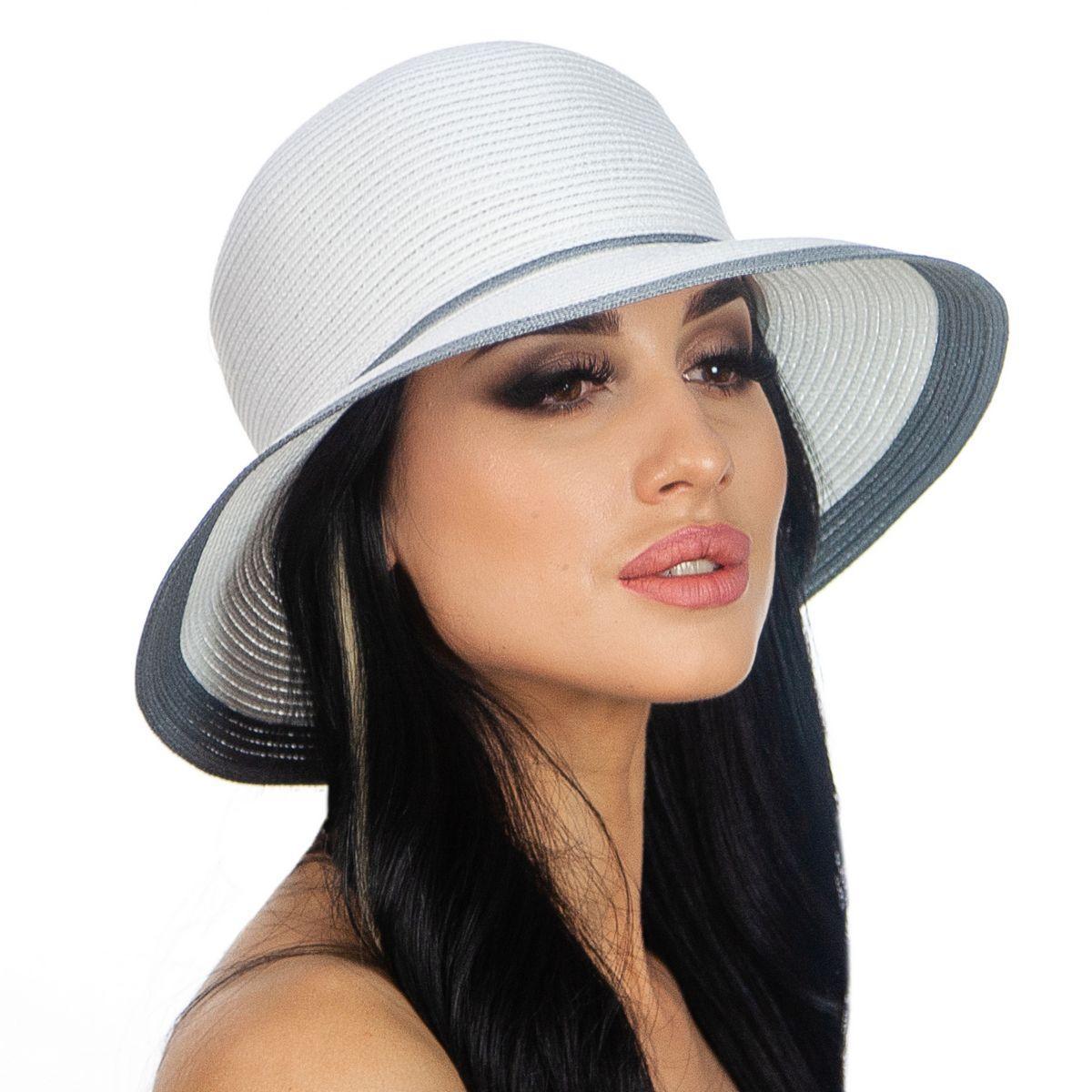 Жіноча літнє капелюх колір білий з сірим обідком