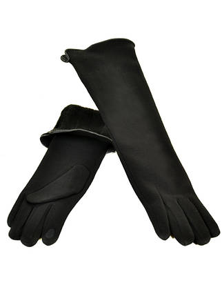 Перчатка Женская стрейч F16/2/17 мод2 black длинная сенсор, фото 2