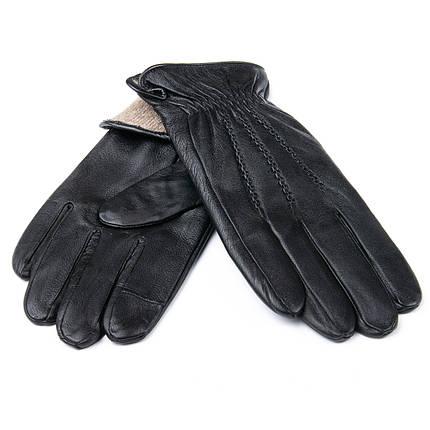 Перчатка Мужская кожа M21/19-1 мод1 black шерсть, фото 2