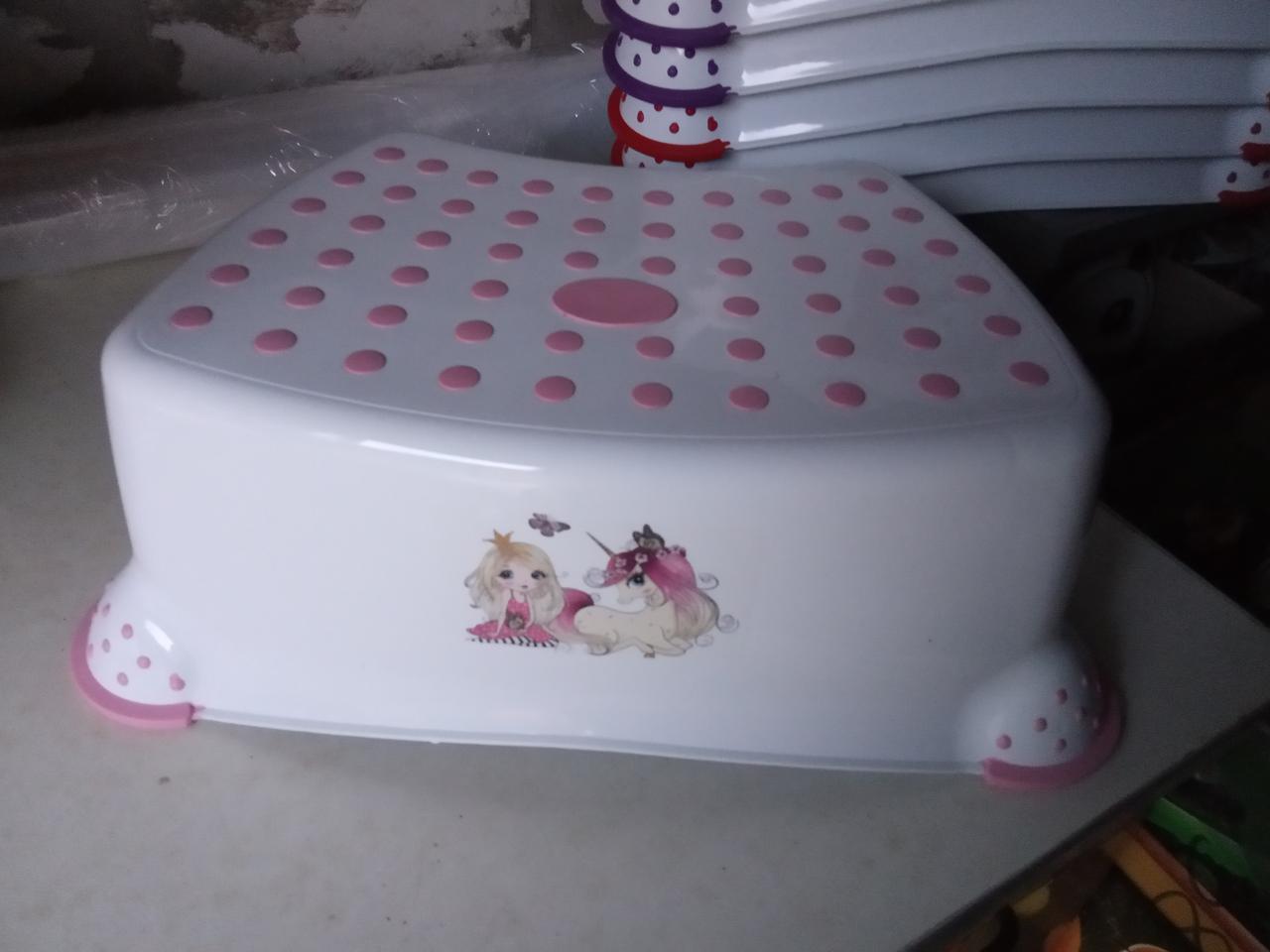 Подставка под унитаз умывальник табурет детский белый , белая с розовым