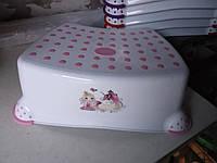 Подставка под унитаз умывальник табурет детский белый , белая с розовым, фото 1