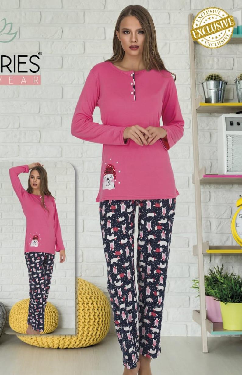 Жіноча котонова піжама на верхніх ґудзиках Le'Maries M L XL XXL