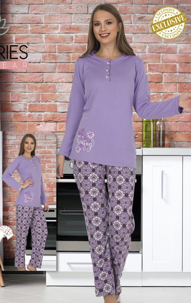 Жіноча котонова піжама на верхніх ґудзиках Le'Maries M XXL