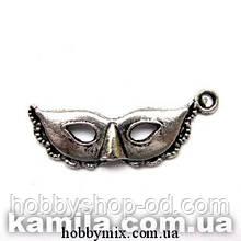 """Метал. подвеска """"маска"""" серебро (3,1х1,3 см) 8 шт в уп."""