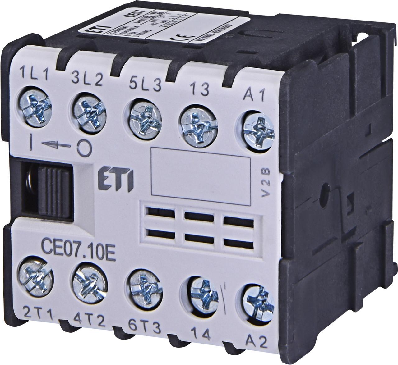 Контактор миниатюрный ETI CE 07.10 7А 24V AC 3NO+1NO 3kW 4641020 (силовой, 16A AC1, 7A AC3)