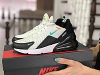 Женские кроссовки NikeAir Max 270  весенние легкие найки из сетки на шнуровке, белые с черным, ТОП-реплика