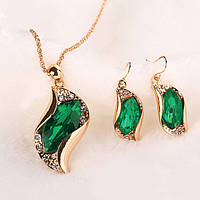 """Набор """"Модный тренд"""" позолоченный c зелеными камнями"""