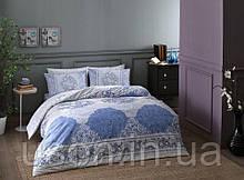 Комплект постельного белья  Tac ранфорс евро размер ARYAN MAVI