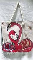 Женская яркая пляжная тканевая сумка с Фламинго канатные ручки