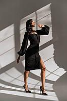 Женское платье длинное рукав фонарик в размере 42-46 черный, красный, серый, молочный