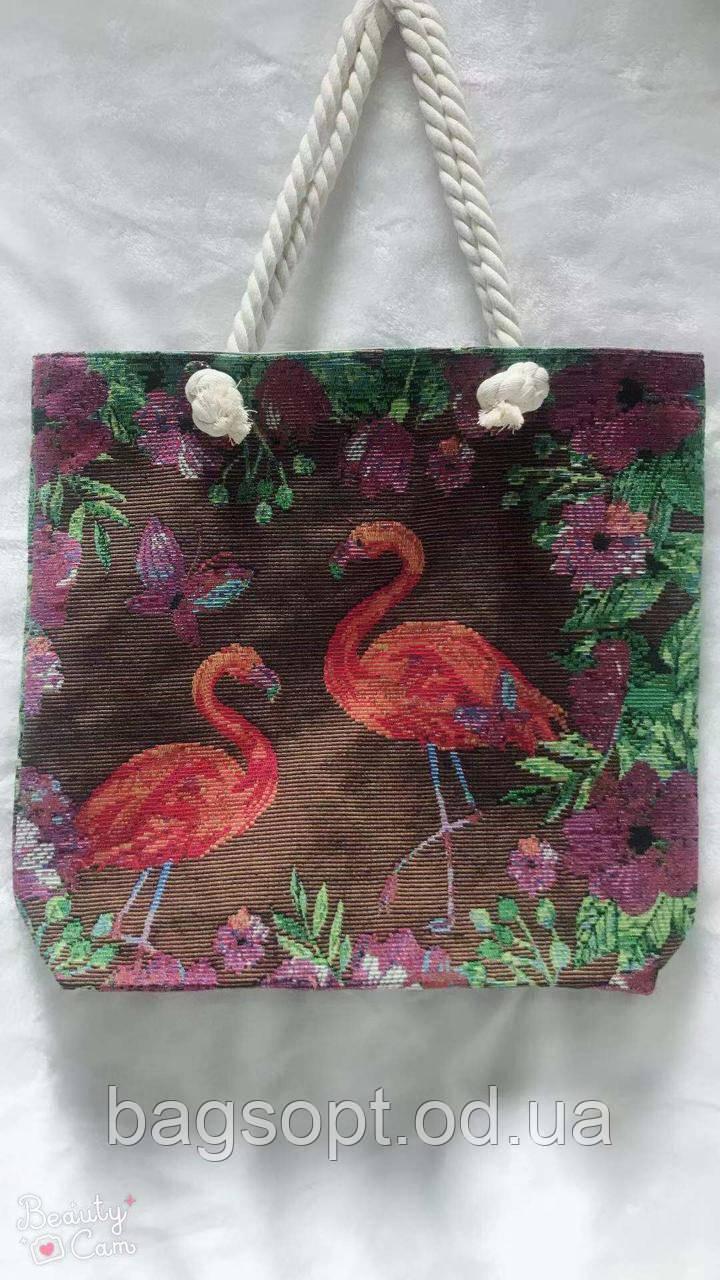 Летняя сумка пляжная из ткани с рисунком Фламинго канатные ручки