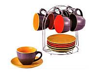 Чайный, кофейный сервиз, керамическая посуда на подставке 13 предметов Wellberg