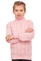 Светр кофта для дівчаток в'язана, рожевий, 128см