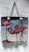 Женская летняя пляжная сумка тканевая с канатными ручками Фламинго