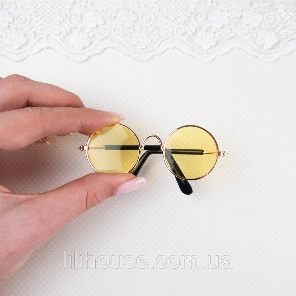 Очки  для Кукол и Игрушек 8.5*3 см ЖЕЛТЫЕ