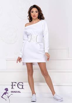 / Размер 42-44,46-48 / Женское платье на флисе с корсетом Furor / цвет белый