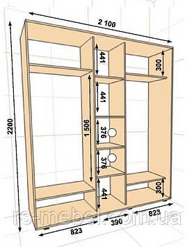 Шкаф-купе 2100*450*2200, 3 двери (Алекса)