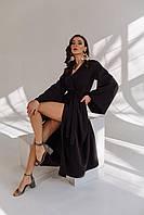 Женское платье длинное кимоно в размере 42-48 черный, красный, молочный