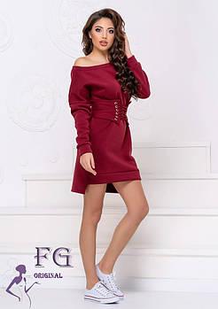 / Размер 42-44,46-48 / Женское платье на флисе с корсетом Furor / цвет бордо