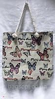 Тканевая пляжная сумка рисунок Бабочки летняя стильная