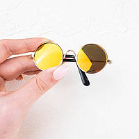 Очки  для Кукол и Игрушек 8.5*3 см ЖЕЛТЫЕ Солнцезащитные Зеркальные