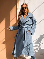 Женское весеннее пальто букле,цвет голубой,размер 42-46 и 48-52 на синтепоне