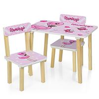 Детский столик и два стульчика 501-71 Фламинго.