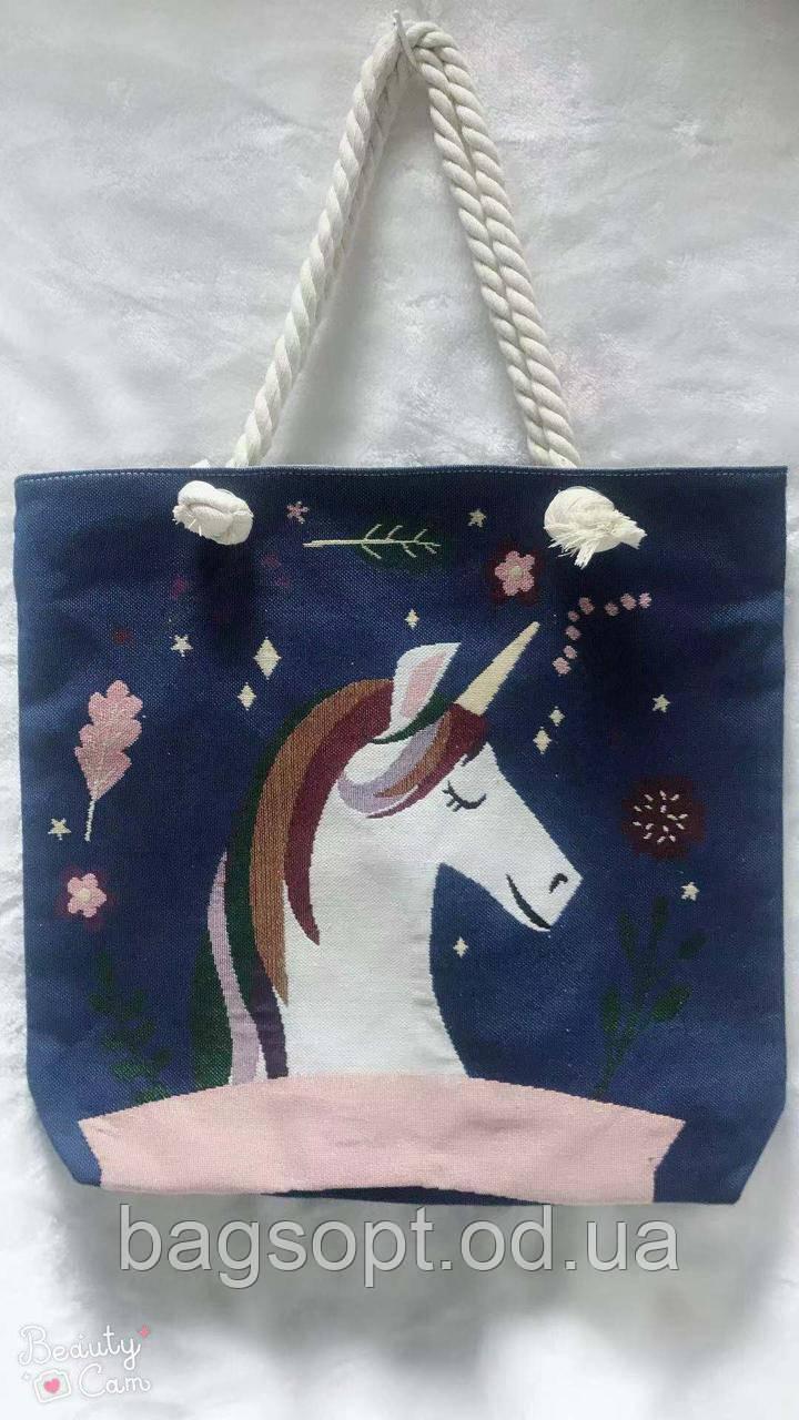 Женская сумка пляжная тканевая летняя с рисунком