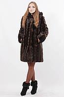 Шуба женская с капюшоном из эко меха под норку, коричневая волна, фото 1